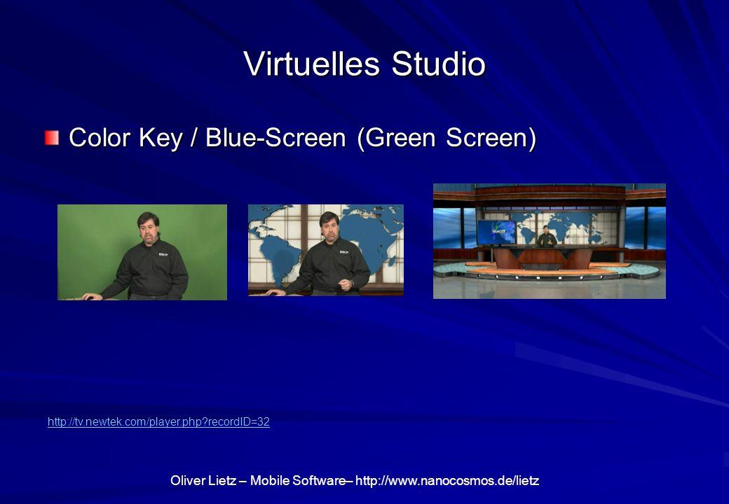 Oliver Lietz – Mobile Software– http://www.nanocosmos.de/lietz Virtuelles Studio Color Key / Blue-Screen (Green Screen) http://tv.newtek.com/player.php?recordID=32