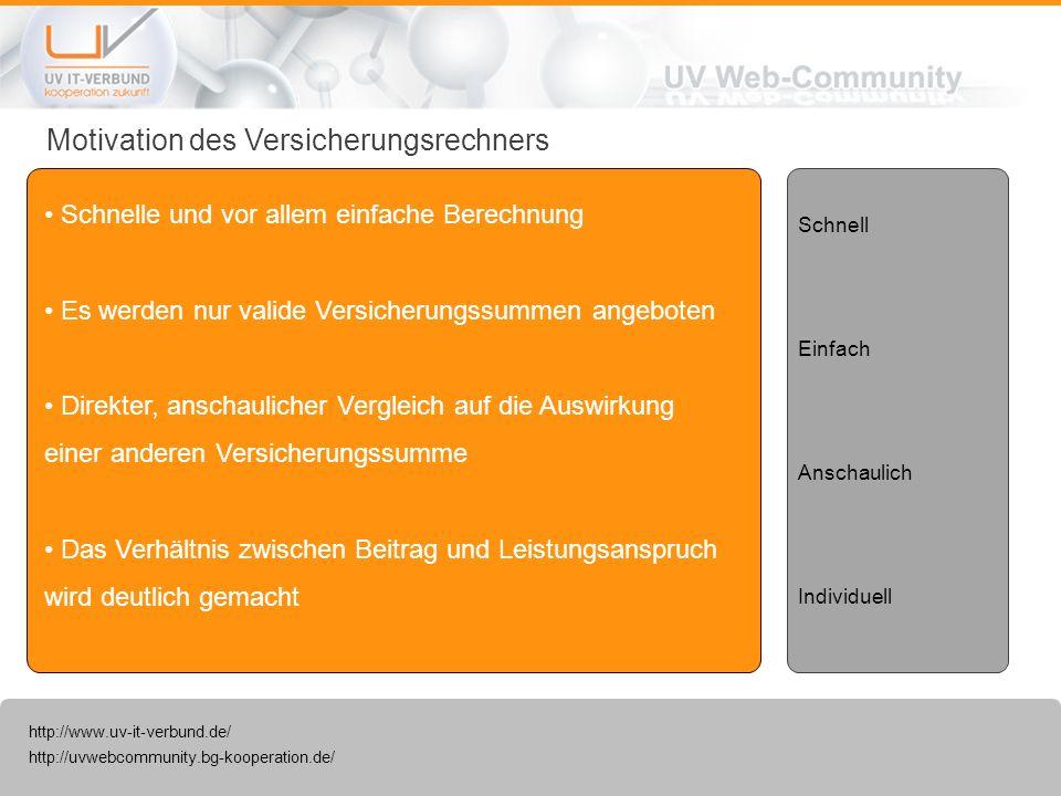 http://uvwebcommunity.bg-kooperation.de/ http://www.uv-it-verbund.de/ Motivation des Versicherungsrechners Schnelle und vor allem einfache Berechnung