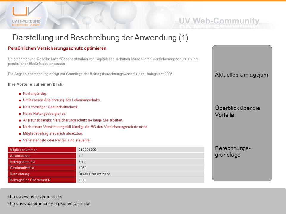http://uvwebcommunity.bg-kooperation.de/ http://www.uv-it-verbund.de/ Darstellung und Beschreibung der Anwendung (1) Aktuelles Umlagejahr Überblick üb