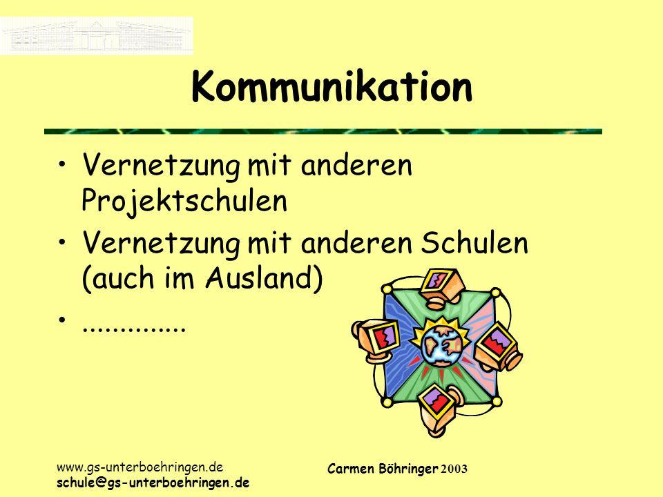 www.gs-unterboehringen.de schule@gs-unterboehringen.de Carmen Böhringer 2003 Kommunikation Vernetzung mit anderen Projektschulen Vernetzung mit anderen Schulen (auch im Ausland)..............