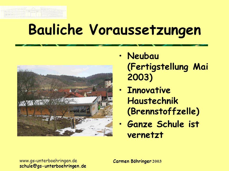 www.gs-unterboehringen.de schule@gs-unterboehringen.de Carmen Böhringer 2003 Bauliche Voraussetzungen Neubau (Fertigstellung Mai 2003) Innovative Haustechnik (Brennstoffzelle) Ganze Schule ist vernetzt