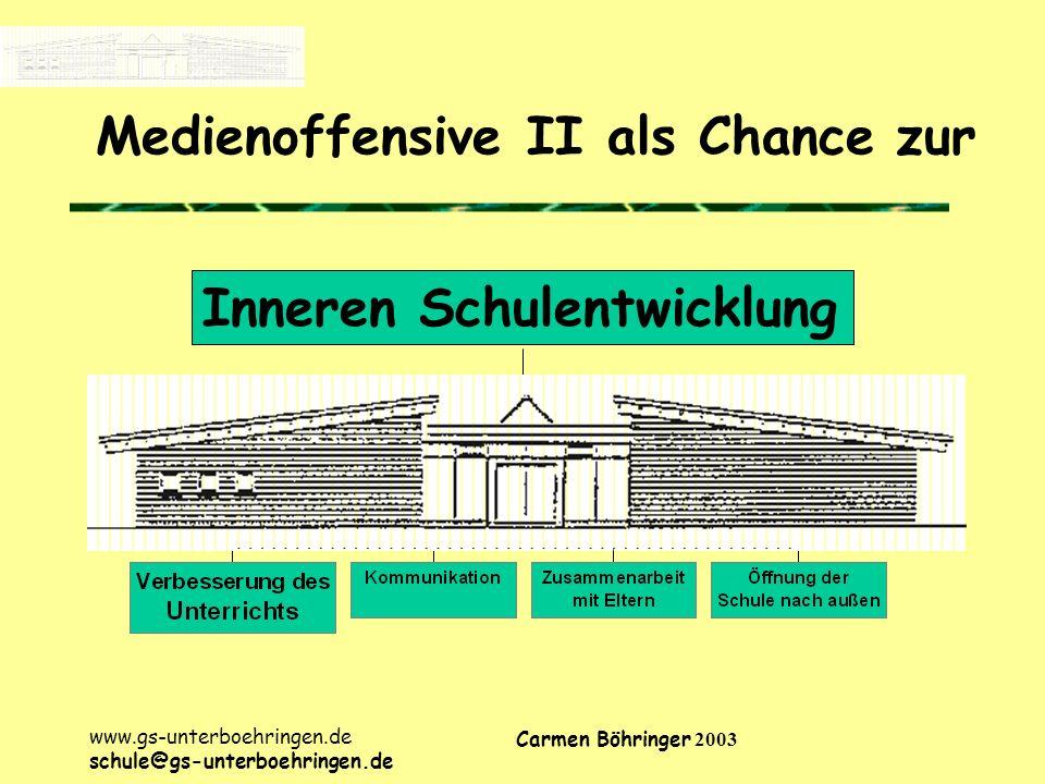 www.gs-unterboehringen.de schule@gs-unterboehringen.de Carmen Böhringer 2003 Medienoffensive II als Chance zur Inneren Schulentwicklung