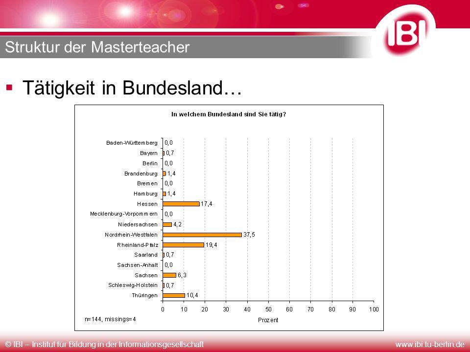 © IBI – Institut für Bildung in der Informationsgesellschaftwww.ibi.tu-berlin.de Struktur der Masterteacher Tätigkeit in Bundesland…