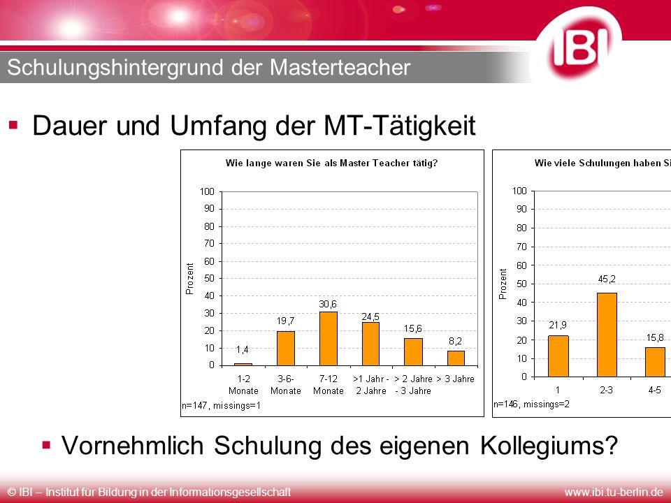 © IBI – Institut für Bildung in der Informationsgesellschaftwww.ibi.tu-berlin.de Schulungshintergrund der Masterteacher Dauer und Umfang der MT-Tätigk