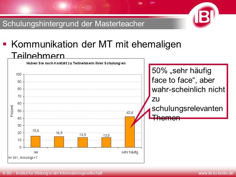 © IBI – Institut für Bildung in der Informationsgesellschaftwww.ibi.tu-berlin.de Schulungshintergrund der Masterteacher Kommunikation der MT mit ehema