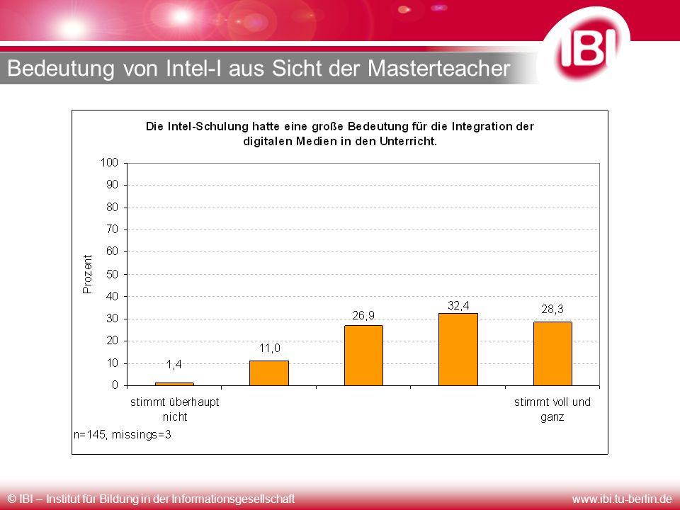 © IBI – Institut für Bildung in der Informationsgesellschaftwww.ibi.tu-berlin.de Bedeutung von Intel-I aus Sicht der Masterteacher