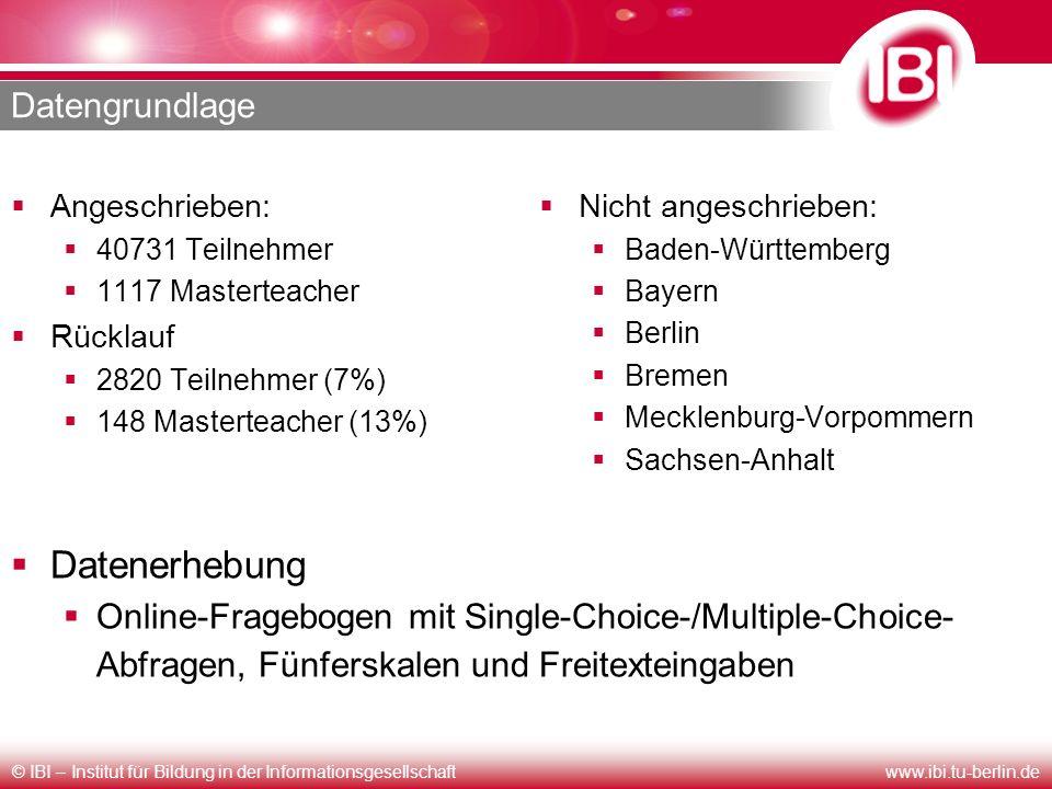 © IBI – Institut für Bildung in der Informationsgesellschaftwww.ibi.tu-berlin.de Datengrundlage Angeschrieben: 40731 Teilnehmer 1117 Masterteacher Rüc
