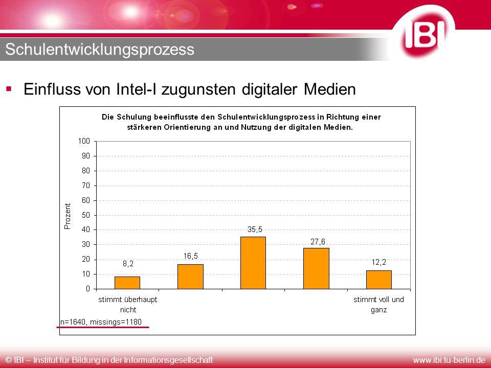 © IBI – Institut für Bildung in der Informationsgesellschaftwww.ibi.tu-berlin.de Schulentwicklungsprozess Einfluss von Intel-I zugunsten digitaler Med