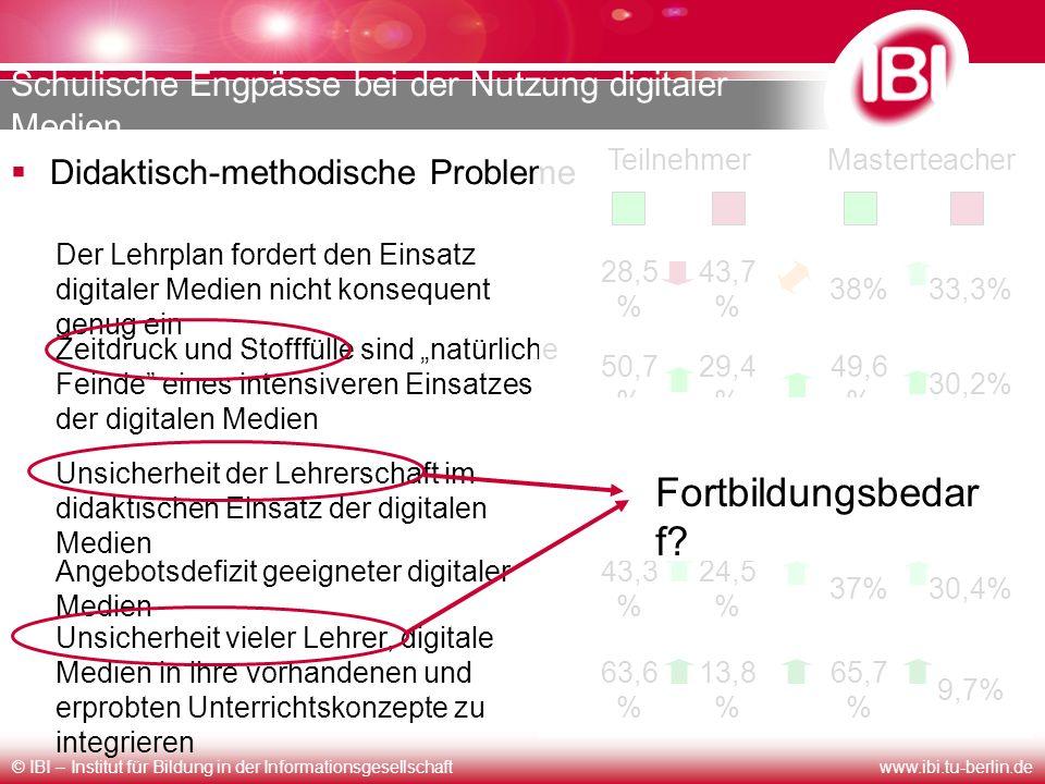 © IBI – Institut für Bildung in der Informationsgesellschaftwww.ibi.tu-berlin.de Schulische Engpässe bei der Nutzung digitaler Medien Didaktisch-metho