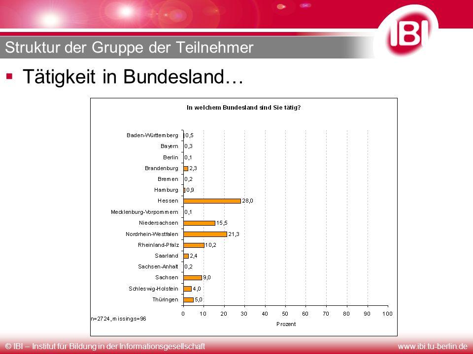 © IBI – Institut für Bildung in der Informationsgesellschaftwww.ibi.tu-berlin.de Struktur der Gruppe der Teilnehmer Tätigkeit in Bundesland…