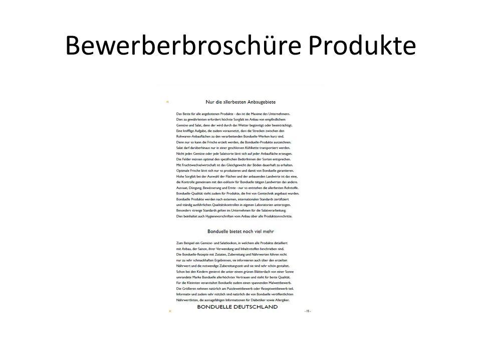 Bewerberbroschüre Produkte