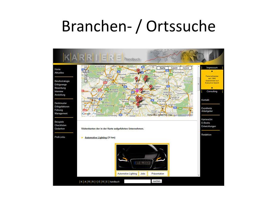Branchen- / Ortssuche