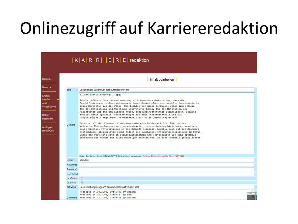 Onlinezugriff auf Karriereredaktion