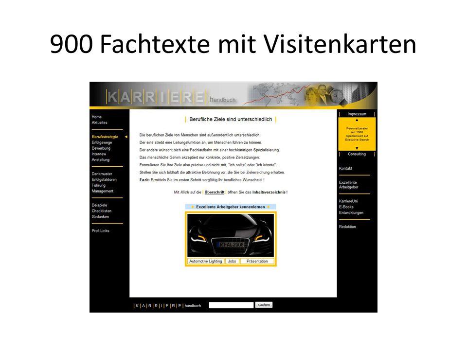900 Fachtexte mit Visitenkarten