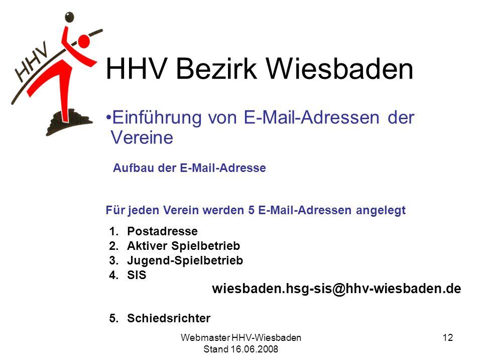 HHV Bezirk Wiesbaden Einführung von E-Mail-Adressen der Vereine Aufbau der E-Mail-Adresse Für jeden Verein werden 5 E-Mail-Adressen angelegt 1.Postadr