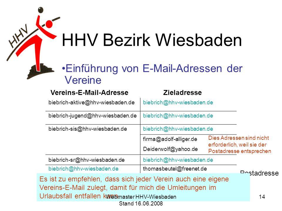 HHV Bezirk Wiesbaden Einführung von E-Mail-Adressen der Vereine Vereins-E-Mail-Adresse Zieladresse Postadresse biebrich-aktive@hhv-wiesbaden.debiebric