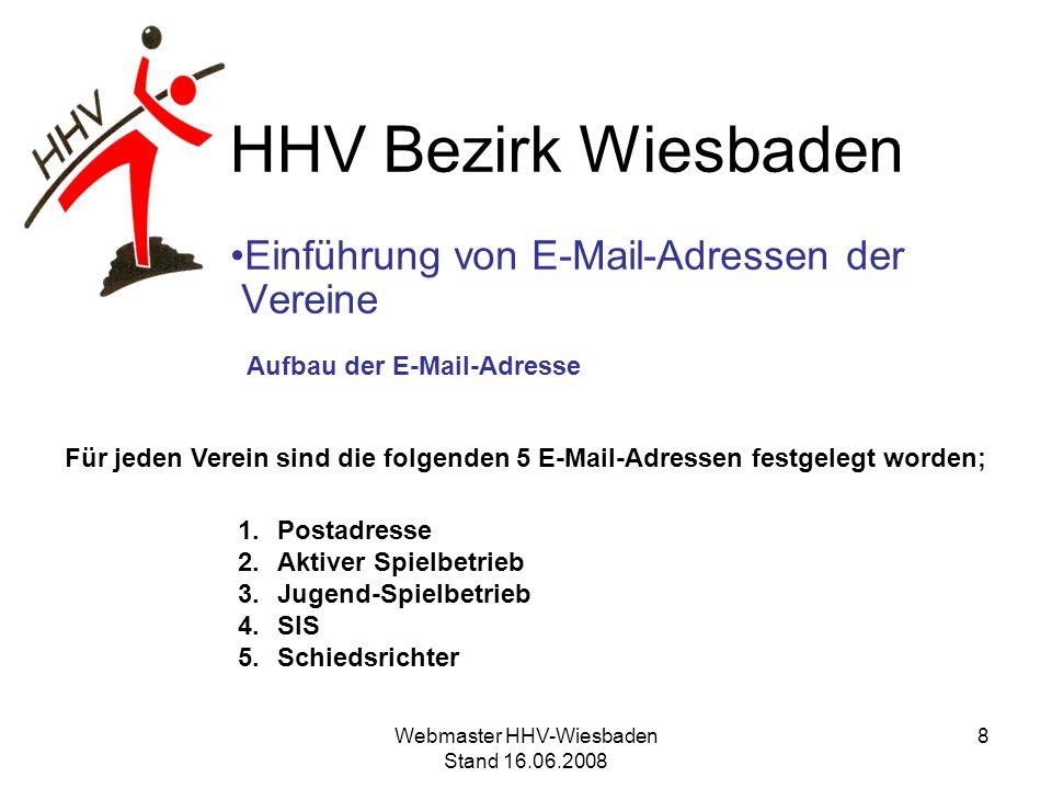 HHV Bezirk Wiesbaden Einführung von E-Mail-Adressen der Vereine Aufbau der E-Mail-Adresse Für jeden Verein werden 5 E-Mail-Adressen angelegt 1.Postadresse 2.Aktiver Spielbetrieb 3.Jugend-Spielbetrieb 4.SIS 5.Schiedsrichter wiesbaden.hsg@hhv-wiesbaden.de 9Webmaster HHV-Wiesbaden Stand 16.06.2008