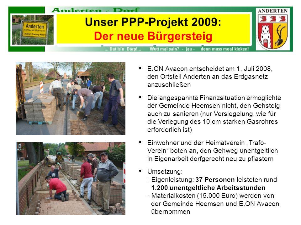 E.ON Avacon entscheidet am 1. Juli 2008, den Ortsteil Anderten an das Erdgasnetz anzuschließen Die angespannte Finanzsituation ermöglichte der Gemeind