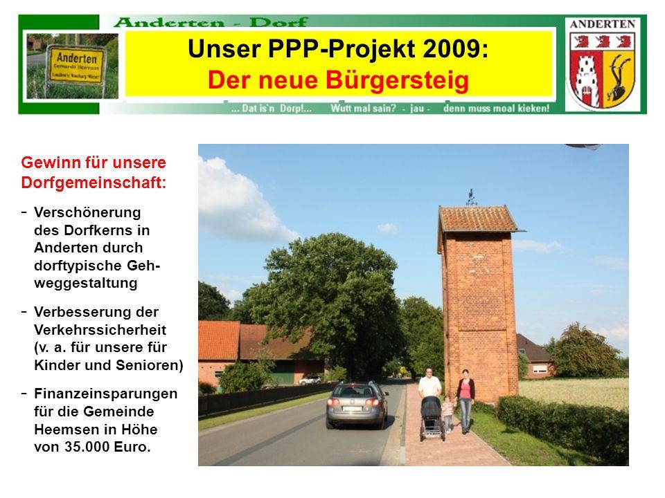Gewinn für unsere Dorfgemeinschaft: - Verschönerung des Dorfkerns in Anderten durch dorftypische Geh- weggestaltung - Verbesserung der Verkehrssicherh