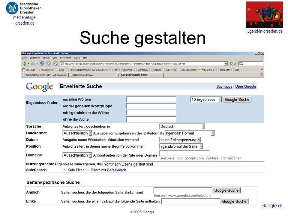 jugend-in-dresden.de medienetage- dresden.de Suche gestalten Google.de