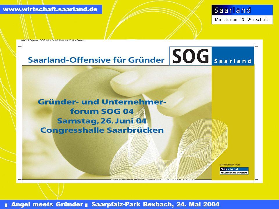 Angel meets Gründer Saarpfalz-Park Bexbach, 24. Mai 2004 www.wirtschaft.saarland.de ALWIS: ArbeitsLeben, Wirtschaft, Schule. Gemeinsames Produkt von I