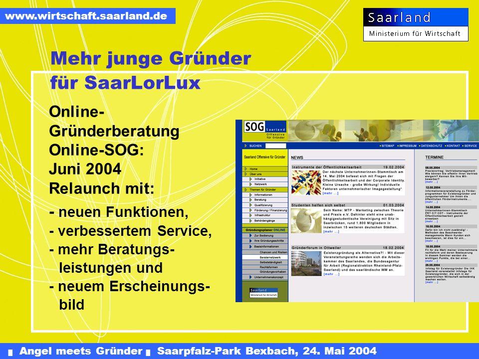 Angel meets Gründer Saarpfalz-Park Bexbach, 24. Mai 2004 www.wirtschaft.saarland.de