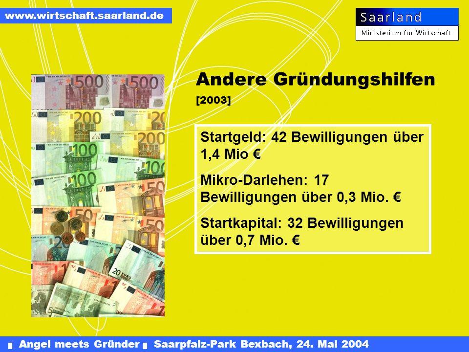 Angel meets Gründer Saarpfalz-Park Bexbach, 24. Mai 2004 www.wirtschaft.saarland.de Gründungs- und Wachstumsfinanzierung Seit Programmstart am 1. Mai