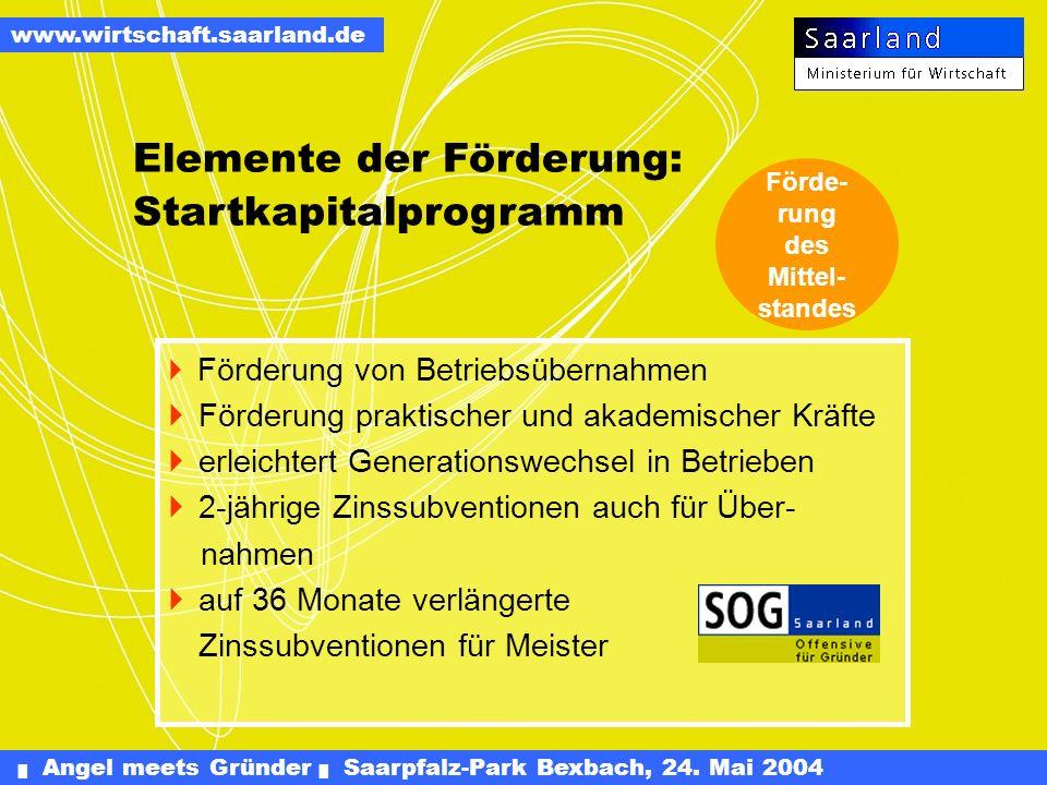 Angel meets Gründer Saarpfalz-Park Bexbach, 24. Mai 2004 www.wirtschaft.saarland.de Andere Gründungshilfen [2003] Startgeld: 42 Bewilligungen über 1,4