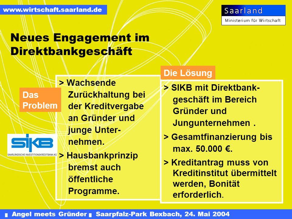 Angel meets Gründer Saarpfalz-Park Bexbach, 24. Mai 2004 www.wirtschaft.saarland.de Förderung von Betriebsübernahmen Förderung praktischer und akademi