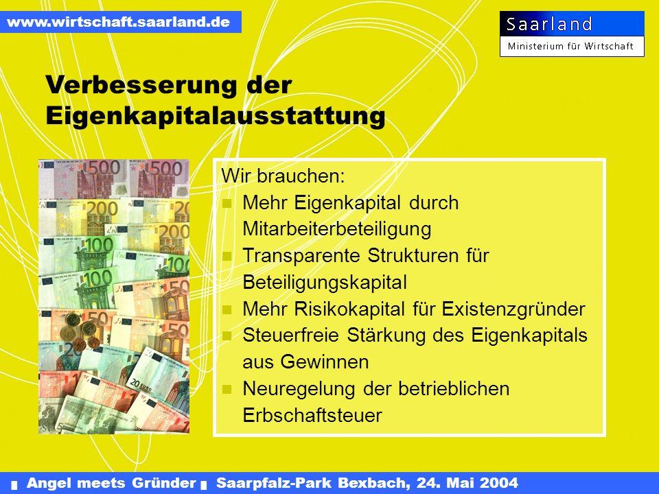 Angel meets Gründer Saarpfalz-Park Bexbach, 24. Mai 2004 www.wirtschaft.saarland.de Innovationsfonds für Technologieunternehmen: 5 Mio (Partner SWG).