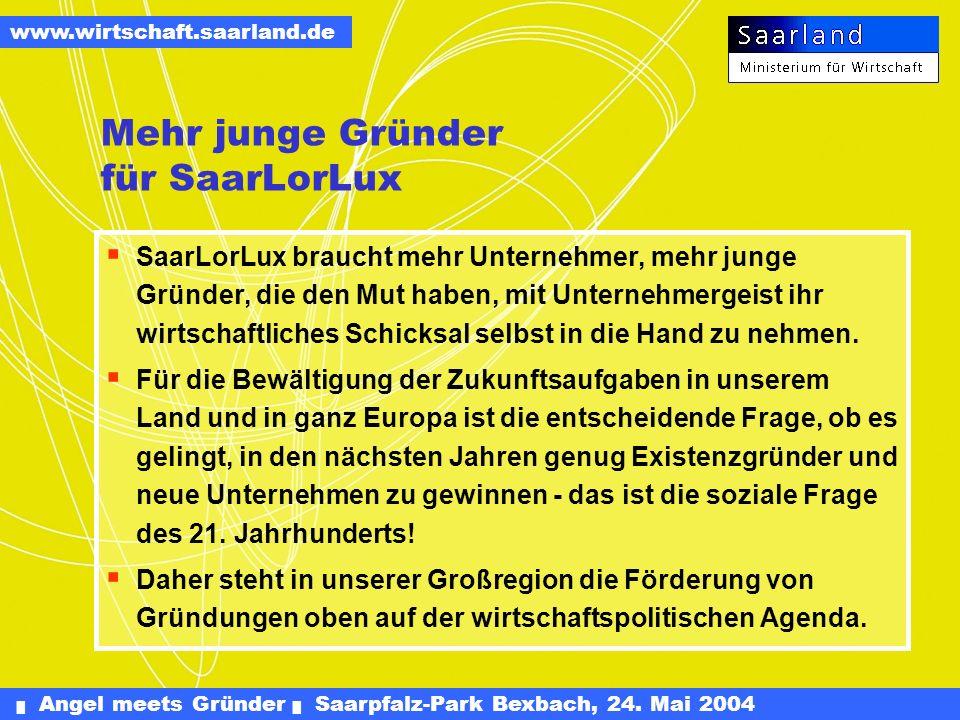 Angel meets Gründer Saarpfalz-Park Bexbach, 24. Mai 2004 www.wirtschaft.saarland.de Saarland Offensive für Gründer SOG - Neue Projekte Dr. Hanspeter G