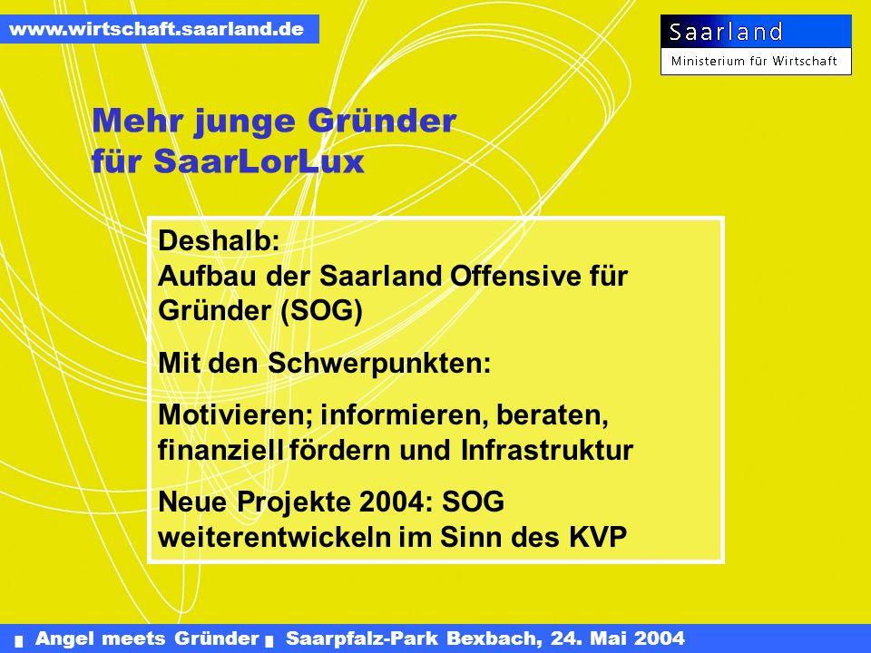 Angel meets Gründer Saarpfalz-Park Bexbach, 24. Mai 2004 www.wirtschaft.saarland.de (Daten 2003 für Bund sind noch nicht Verfügbar) IHK: Unter- nehmer