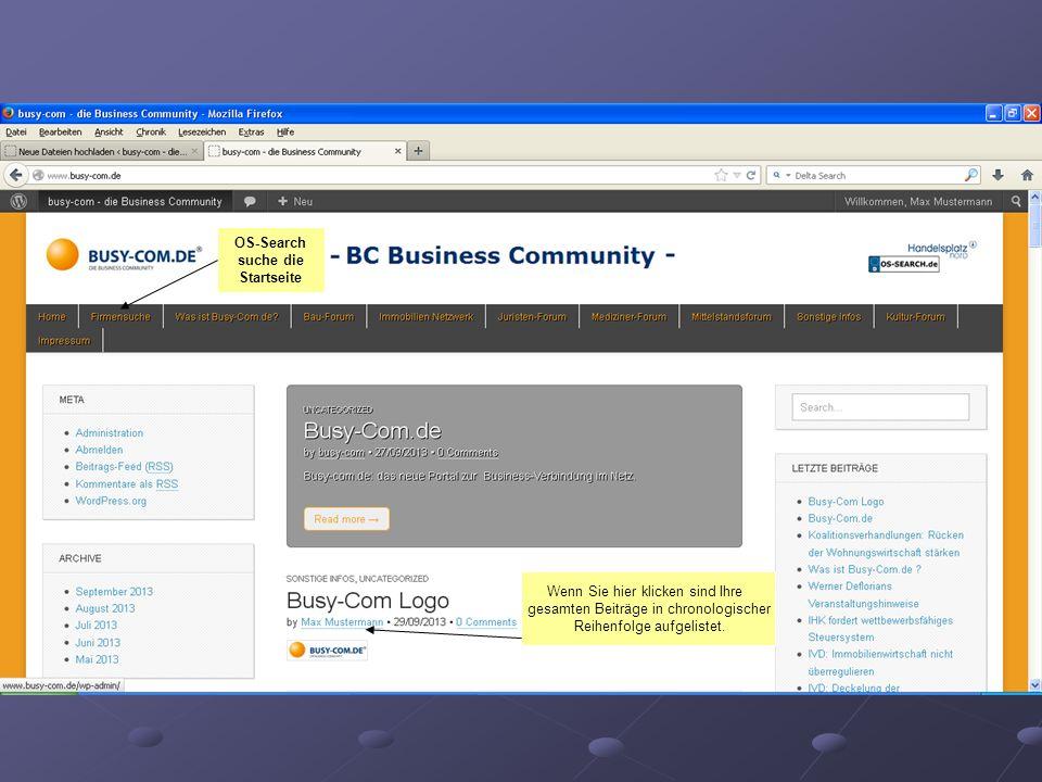 OS-Search suche die Startseite Wenn Sie hier klicken sind Ihre gesamten Beiträge in chronologischer Reihenfolge aufgelistet.