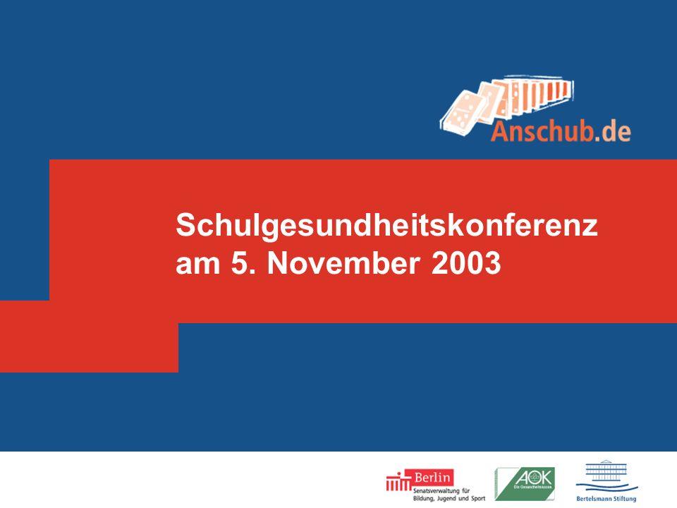 Anschub - Impressum Projektleiterin in der Senatsverwaltung: Elisabeth Müller-Heck Projektleiter in der Bertelsmann Stiftung: Rüdiger Bockhorst Wissenschaftlicher Leiter: Prof.