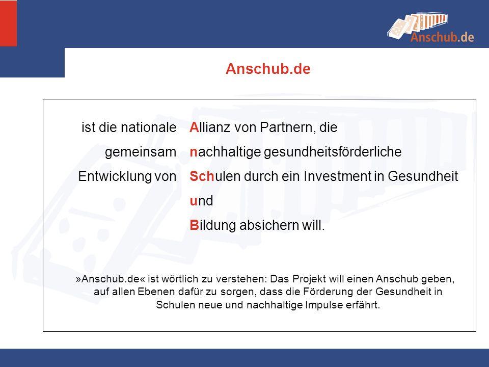 »Anschub.de« ist wörtlich zu verstehen: Das Projekt will einen Anschub geben, auf allen Ebenen dafür zu sorgen, dass die Förderung der Gesundheit in S