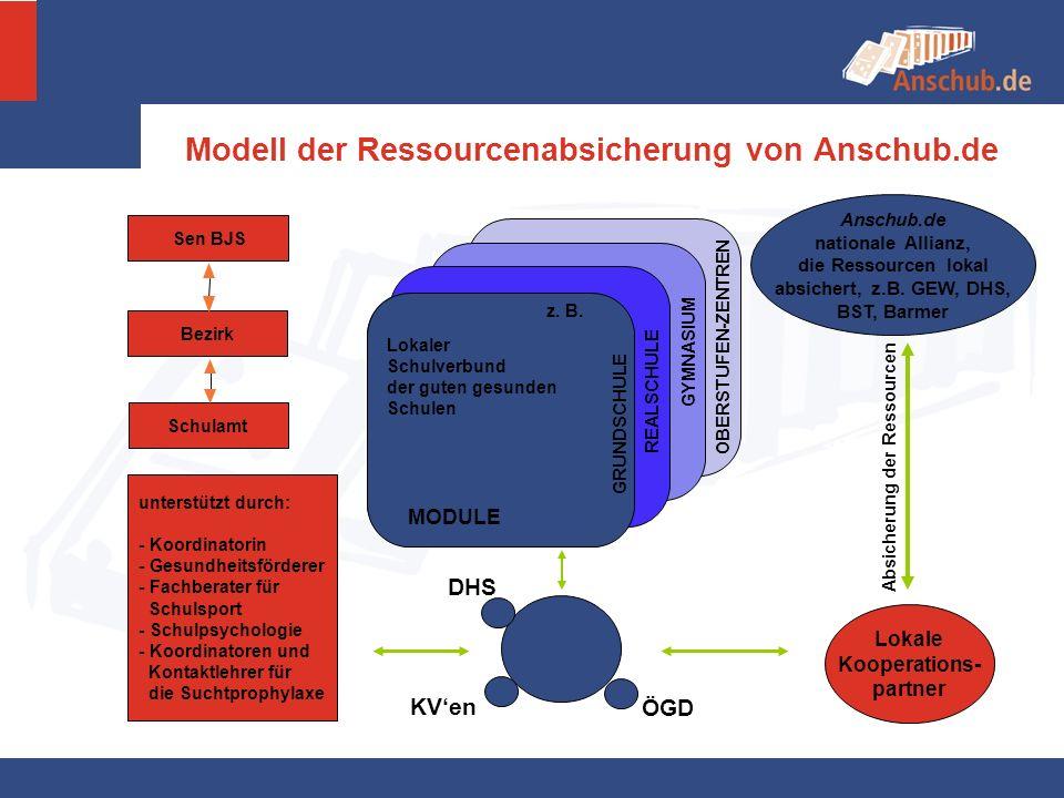 Bezirk Sen BJS Schulamt Modell der Ressourcenabsicherung von Anschub.de unterstützt durch: - Koordinatorin - Gesundheitsförderer - Fachberater für Sch