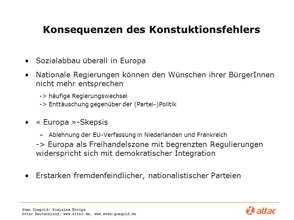 Sven Giegold: Soziales Europa Attac Deutschland, www.attac.de, www.sven-giegold.de Konsequenzen des Konstuktionsfehlers Sozialabbau überall in Europa