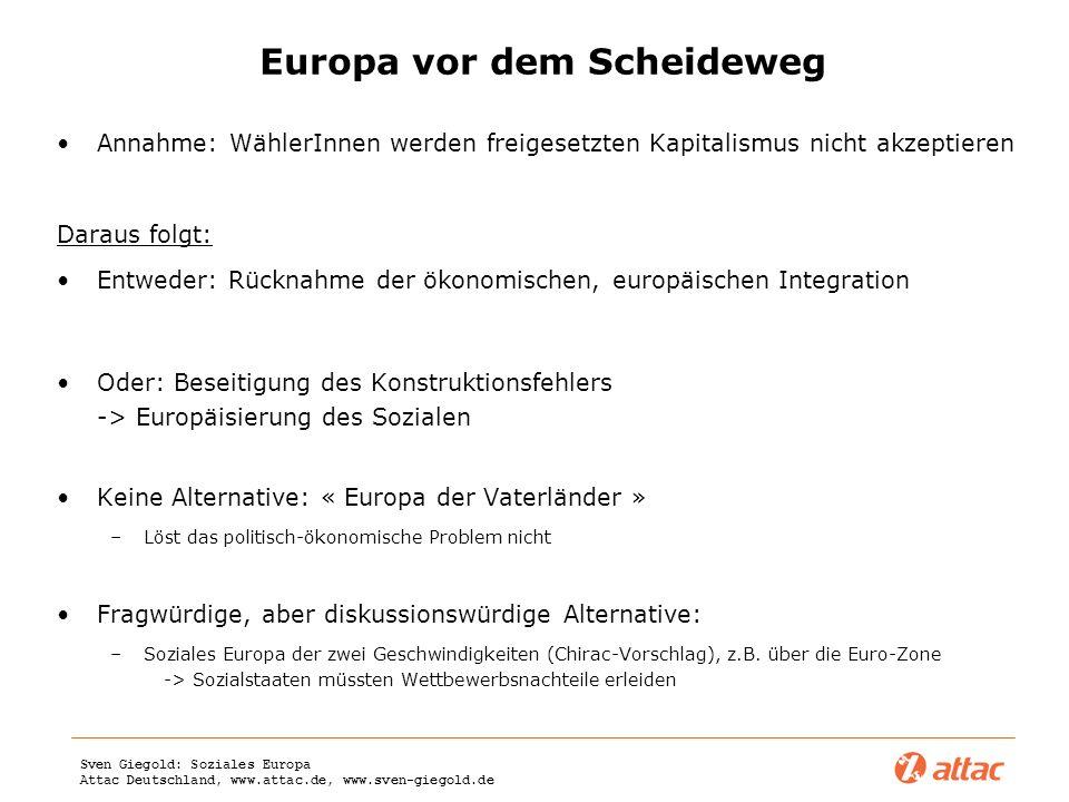 Sven Giegold: Soziales Europa Attac Deutschland, www.attac.de, www.sven-giegold.de Europa vor dem Scheideweg Annahme: WählerInnen werden freigesetzten