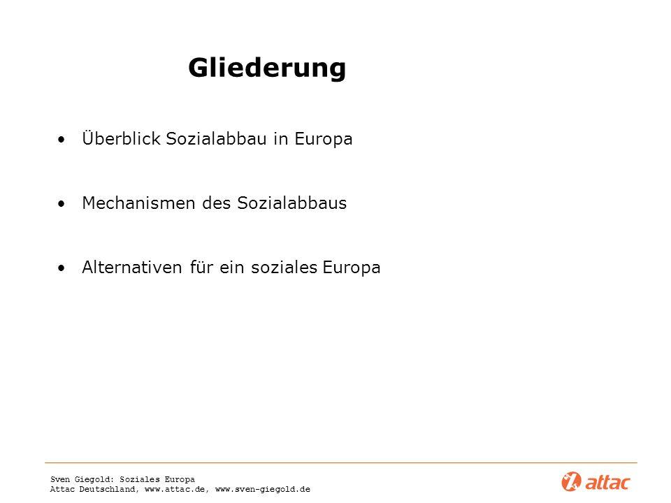 Sven Giegold: Soziales Europa Attac Deutschland, www.attac.de, www.sven-giegold.de Gliederung Überblick Sozialabbau in Europa Mechanismen des Sozialab