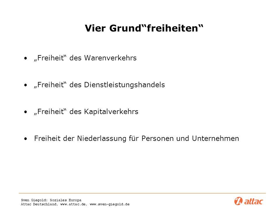 Sven Giegold: Soziales Europa Attac Deutschland, www.attac.de, www.sven-giegold.de Vier Grundfreiheiten Freiheit des Warenverkehrs Freiheit des Dienst