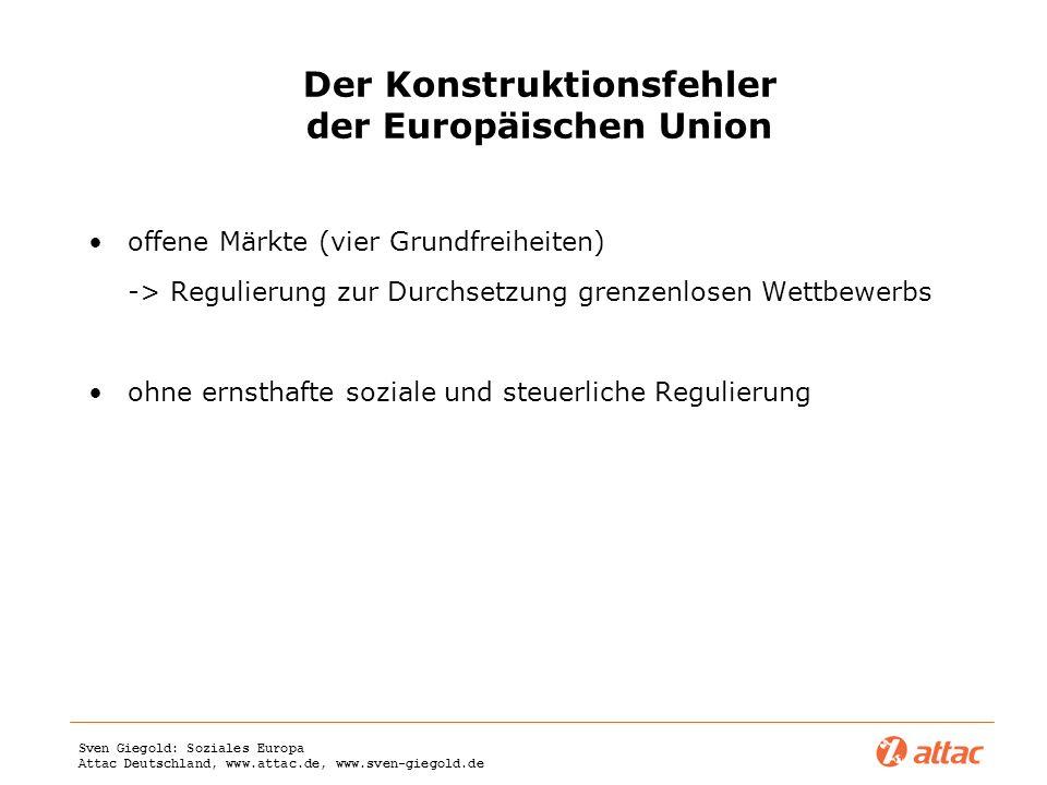 Sven Giegold: Soziales Europa Attac Deutschland, www.attac.de, www.sven-giegold.de Der Konstruktionsfehler der Europäischen Union offene Märkte (vier