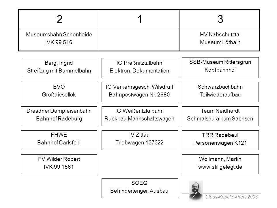 Claus-Köpcke-Preis 2003 Nominierungen 312 Wollmann, Martin www.stillgelegt.de TRR Radebeul Personenwagen K121 Team Neidhardt Schmalspuralbum Sachsen S