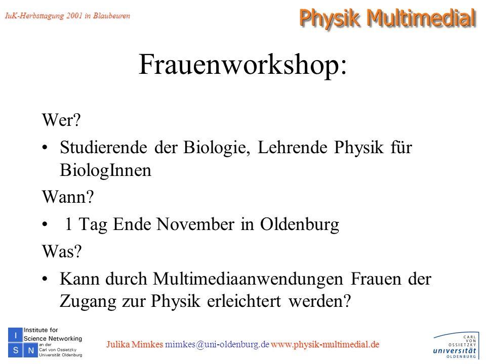 13 Frauenworkshop: Wer. Studierende der Biologie, Lehrende Physik für BiologInnen Wann.