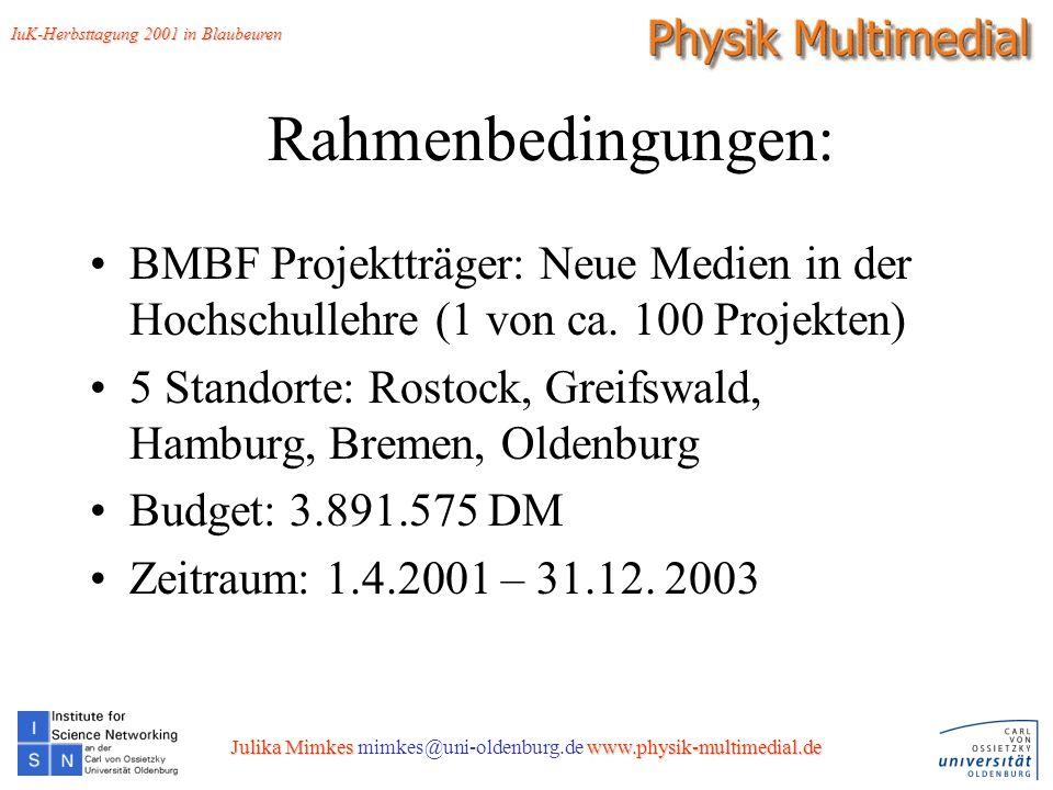 4 Rahmenbedingungen: BMBF Projektträger: Neue Medien in der Hochschullehre (1 von ca.