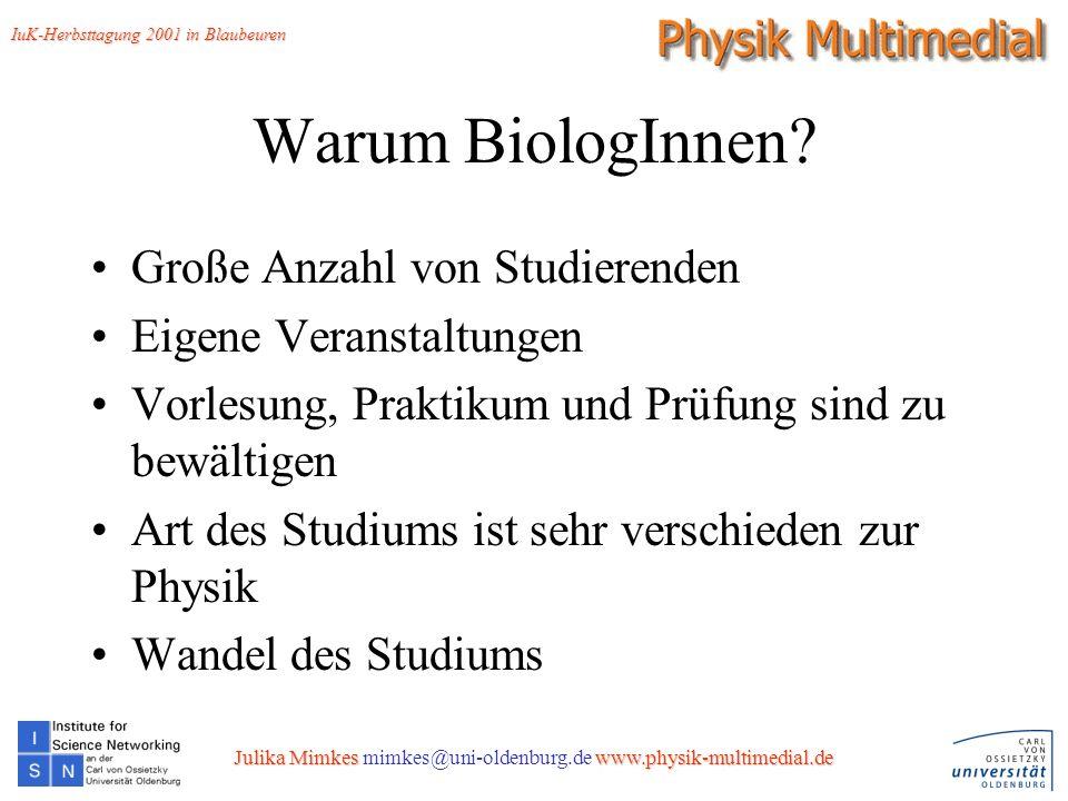 7 Die üblichen Gedanken von BiologInnen zur Physik: Warum soll ICH Physik verstehen ??.