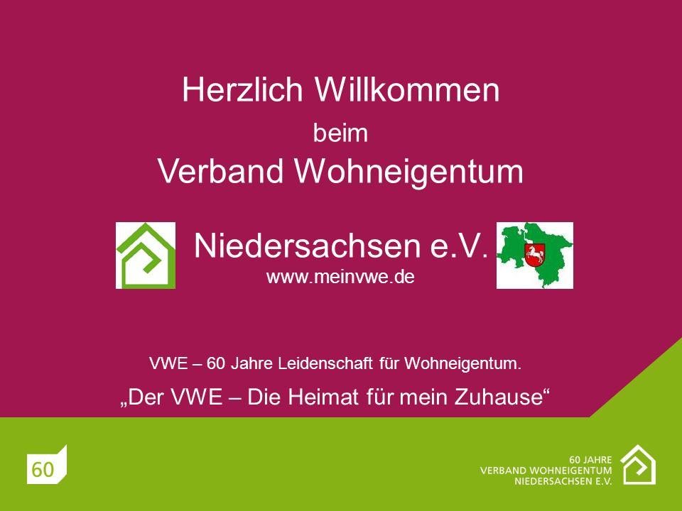 Herzlich Willkommen beim Verband Wohneigentum Niedersachsen e.V. www.meinvwe.de VWE – 60 Jahre Leidenschaft für Wohneigentum. Der VWE – Die Heimat für