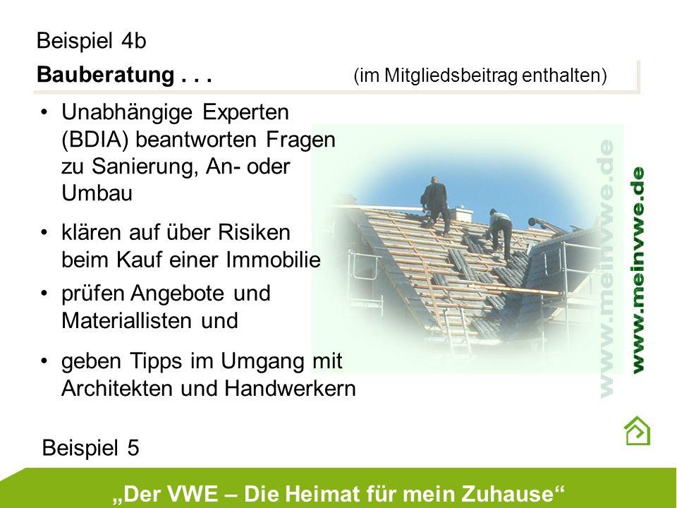 Bauberatung... (im Mitgliedsbeitrag enthalten) Beispiel 4b Unabhängige Experten (BDIA) beantworten Fragen zu Sanierung, An- oder Umbau klären auf über