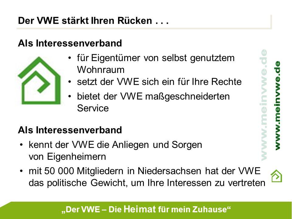 Der VWE stärkt Ihren Rücken... Als Interessenverband für Eigentümer von selbst genutztem Wohnraum setzt der VWE sich ein für Ihre Rechte bietet der VW