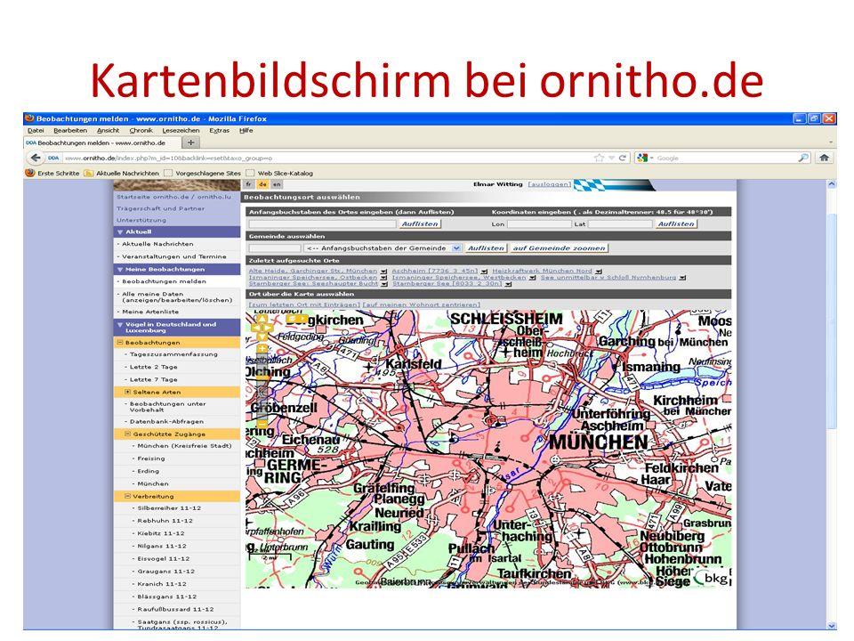 Kartenbildschirm bei ornitho.de