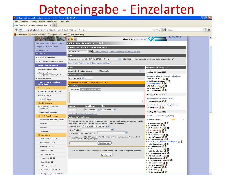 Dateneingabe - Einzelarten